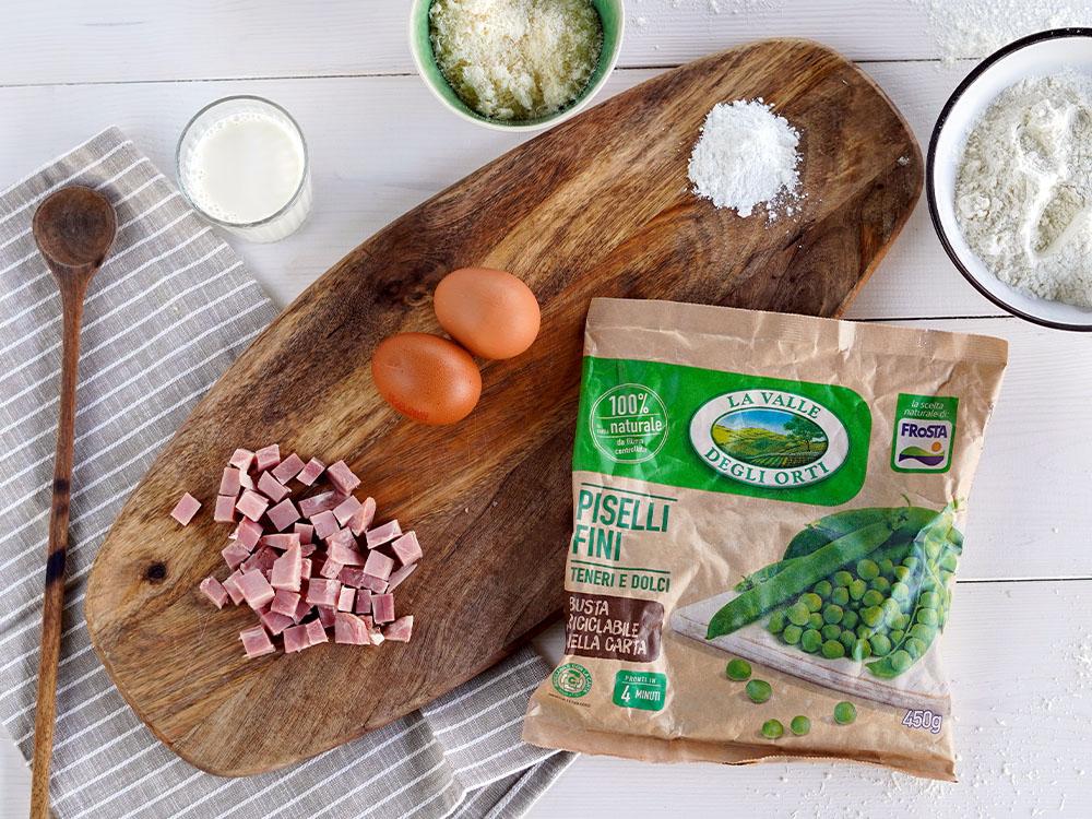 Plumacake salato con prosciutto cotto e piselli - gli ingredienti